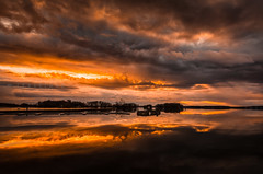 Sunset @ Sainte-Anne-de-Bellevue (-> LorenzMao <- Very Busy) Tags: sainteannedebellevue westisland reflection waterreflection water clouds color sunset horizon lake d7000 sigma1750mm sigmalens quebec canada