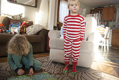 Christmas socks! (grilljam) Tags: christmasday presents winter december2016 seamus 4yrs ewan 7yrs modelinghisnewchristmassocks candycanepjs piratemazebook