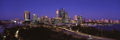 Perth City Twilight (Martin Canning) Tags: 617 epsonv700 fuji fujig617 g617 kingspark leefilters martincanning martincanningcom perth westernaustralia analog bluehour cityscape colours film landscape longexposure mediumformat panorama panoramic sunset twilight velvia velvia50