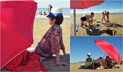 """Farniente et jeux de plage"" Sur la plage de Koksijde (Coxyde) Belgium (claude lina) Tags: claudelina belgium belgique flandreoccidentale mer zee sea noordzee merdunord koksijde coxyde plage sable parasols"