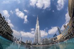 Burj Khalifa, Dubai (Aditya.Sridhar) Tags: nikon d7100 samyang rokinon opteka bower 8mm 35 f35 fisheye lens fish eye clouds cloud landscape cityscape bur dubai downtown modern skyscraper sky scraper mena mea middle east arabic