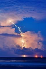 Long lightning strike (_cherrycreekphoto_) Tags: ocean summer gulfofmexico weather background hurricane extreme alabama scene depression tropical strike thunderstorm lightning severe fortmorgan