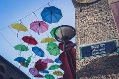 Jerusalem (flrent) Tags: street art israel palestine jerusalem east middle orient umbrellas rue ville isral moyen parapluies