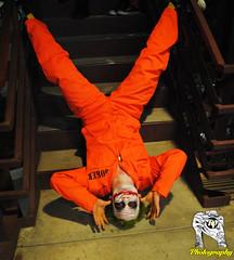 Clowinin Around (HarleyCyn) Tags: costumes comics photo dc costume shoot cosplay joker gotham costuming prisonjumpsuit whysoserious