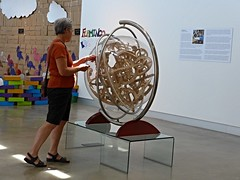 Catherine at the Kaneko gallery Play exhibit (ali eminov) Tags: nebraska play games galleries catherine displays omaha exhibits wordgames kaneko kanekogallery