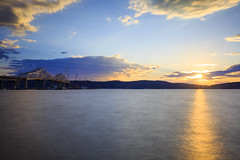 Tappan Zee Bridge (Jemlnlx) Tags: park county new york bridge sunset ny canon river landscape eos is long exposure state mark iii zee filter l 5d hudson usm filters ef f4 stacked graduated density hoya rockland neutral tiffen taipan 1635mm gnd losee d400 nays ndx400
