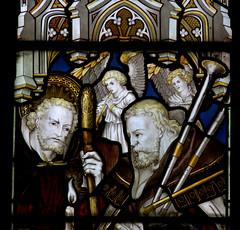 Alveley, Shropshire, St. Mary the virgin, nativity window:  shepherds, detail