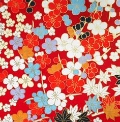 Yuzen washi 186 (tengds) Tags: handmadepaper japanesepaper yuzenwashi washi chiyogami flowers red white blue orange tengds