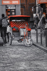 Trike (B Bessim) Tags: trike bike red bw blackwhite selectivecoloring cobble stone road paris france europe