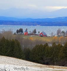 Champlain and Adirondacks (Eyes Open To Life) Tags: winter snow lake mountains trees barn landscape countryside nature vermont adirondacks champlain autofocus