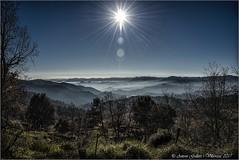 Es fa de dia a -10 graus.  (El Pla de Teyá - Osona - Catalunya) (Antoni Gallart i Vilarrasa) Tags: contrallum contraluz backlighting niebla boirina fog vidrà plateyá paisatge paisaje landscape bosc bosque forest panorámica panorámique panoramic mountain montanyes montañas cataluña catalonia catalunya d800 blue azul blau sol sun sky cel osona wonderful beautiful