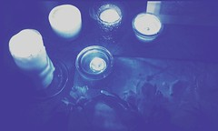 blue reverence (LauraSorrells) Tags: candles candlelight blue vivid deep monochrome reverence altar contemplative