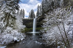 Upper South Falls in the Snow (Mstraite) Tags: winter cold snow river waterfall water stream park state white blue canon manfroto tripod slow oregon nature rocks cliff ngc
