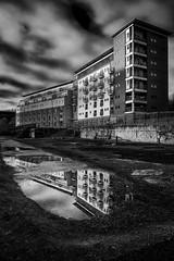 Bonner's Field Flats (MMiPhoto) Tags: sunderland river wear northeast flats buildings architecture mono blackandwhite reflection fuji xt1