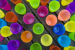 Colored cups (on Explore) (Jan van der Wolf) Tags: map144103ve cups plastic colors kleuren repetition perspective perspectief pov herhaling