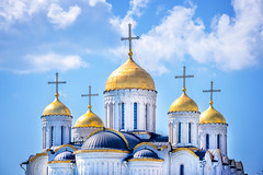 Coupoles de la Cathédrale de l'Assomption, Vladimir (Voyages Lambert) Tags: russianethnicity travel tourism buildingexterior orthodoxchurch goldcolored russianculture religion medieval history thepast spirituality white blue gold ancient old cultures famousplace architecture urbanscene moscow russia landscape sky dome cathedral church cityscape city town dormition goldenring vladimir worldheritage orthodox unescoworldheritagesite thefeastoftheassumptionoftheblessedvirginmary dormitionofthevirgin