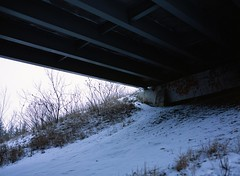 nirvana (MitchBoudreau) Tags: bridge winter snow film mediumformat mamiya 645 canada ontario beautiful graffiti empty blue lines hardlines angle shadow contrast urbex grain under sky art landscape