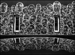 Matt_tieu (Chrixcel) Tags: reflet reflexion capot voiture laplacerouge lagedor matttieu craie chalk noiretblanc visages streetart arturbain paris tag graff graffiti apparitions fantômes silhouettes