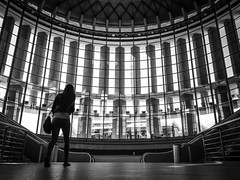 Madrid, Spain. 2015. Atocha. (Boris Thaser) Tags: madrid street city blackandwhite bw woman station silhouette architecture facade walking hall spain flickr adult candid