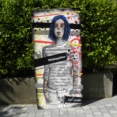 Walk Don't Walk (id-iom) Tags: red streetart art girl face yellow lady graffiti eyes paint head board arts spray spraypaint acrylicpaint idiom paintmarker whitegables