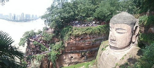 leshan town in the background. cam phone photo