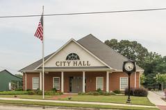 Homer City Hall (jwcjr) Tags: homer homerga homergeorgia pentax smalltown smalltownga smalltowngeorgia flag cityhall homercityhall clock outdoorclock