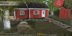 Ashe The Red Cottage (Soyer Roussell) Tags: corina wonder soyer roussel roussell runic design comopolitan mesh original 100 25 off second life cottage red ashe strucutre skybox build building builder house home living nature flower plant tree rockpath rug welcome toolshed wodden floor ladybugs grass 3d blender