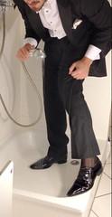 white-tie-shower-1_10300159564_o (shinydressshoes) Tags: tails tailcoat tuxedo suit muddy gunge wet shiny shoes shinyshoes leather patent dressshoes groom wedding whitetie frack formal shower lackschuhe lackschuh