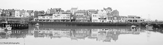 Building reflections  in Bridlington harbour.