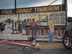 """""""Promise, large promise, is the soul of an advertisement."""" (what's_the_frequency) Tags: samueljohnson promise advertisement ad 365 365pic project365 mohavevalley mohavecounty mojavedesert arizona calnevari free drink drinks freedrinks tavern bar wateringhole today tomorrow wallshavepaint wallart mural canon elph350hs"""