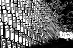Descent (halifaxlight) Tags: iceland reykjavik harpaconcerthallandconferencecentre architecture interior structure walls ceiling figure walking bw stairs