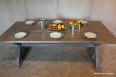 Finished the 7 ft Farmhouse Trestle Table. Stain color is weathered gray with three coats of clear satin polyurethane for a protective finish.  It was fun building this table. (Ocean West Designs) Tags: trestletable harvesttable rustictable farmhouseliving diningroomdecor farmhousetable woodtable farmtable kitchentable sawdust decoratingideas finewoodworking wooddesign diningtable farmhousedecor woodshop woodworker woodcraft craftsman builder southernliving rusticdecor carpenter farmhousestyle designing craftsmanship carpentry diningroom theartofslowliving farmhouse