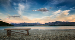 The Bench at Lake Tekapo (Jacob Surland) Tags: fineart hdr newzealand landscape art fineartphotography jacobsurland water highdynamicrange laketekapo lake country caughtinpixels clouds canterbury nz