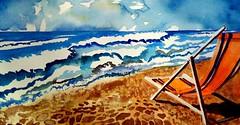 Memories (l*aura**) Tags: mare sea summer estate ombrellone magliarossa red blu blue spiaggia beach watercolor acquerello arancione orange