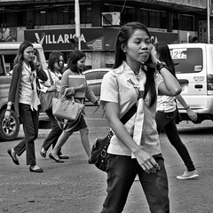 Confident (Beegee49) Tags: filipina student smiling crossing street bacolod city philippines