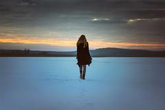 Let Your Feet Run Wild (fehlfarben_bine) Tags: nikondf nikon850mmf14 woman walking ice lake berlin sunset winter mood