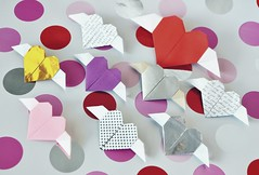 Valentine hearts (o0o0oecho0o0o) Tags: origami valentine heart valentinesday paper craft papercraft love hearts diy pink purple silver gold foil