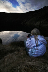 Quietly reflecting (Tobyloc (again)) Tags: lake volcano iceland sitting mini rebekka keri grmsnes
