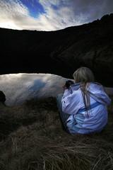 Quietly reflecting (Tobyloc (again)) Tags: lake volcano iceland sitting mini rebekka keri grmsnes