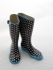 Never wear your wellies in the house! (Lynn Morag) Tags: new snow mine boots gutentag 100v10f womenonly lynn polkadots spots dots wellies galoshes wellingtons tombaker lynnmorag colinmacnaughton photodomino322 allrightsreserved