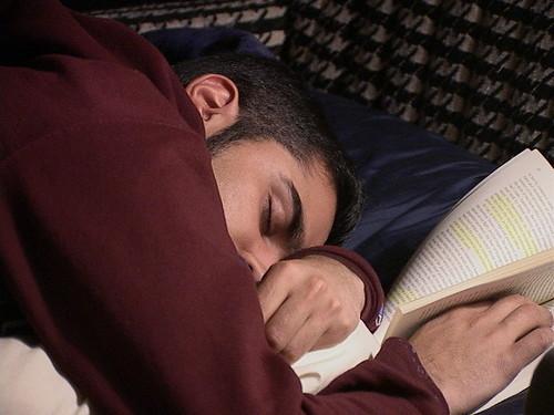 Amol asleep reading