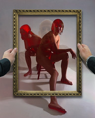 Seeing Red, 1972, 2005 (PhotoShop Guru) Tags: woman reflection nude women hand skin leg frame solarization