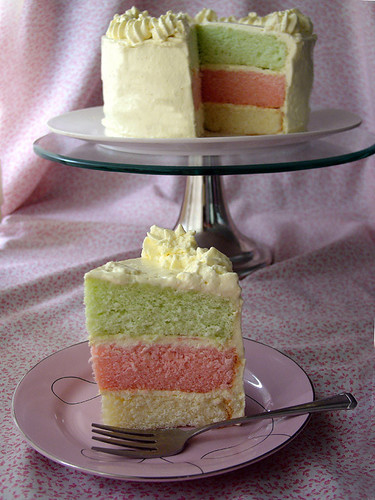 tropical tricolour cake