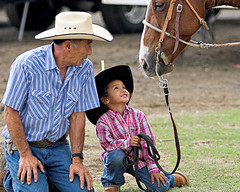 Sweetheart of the Rodeo (konaboy) Tags: horse hawaii bravo cowboy grandfather rodeo warren kona stampede grandaughter ohana 18364a2 leysie