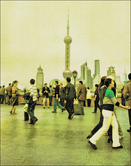 . A Day In The Life . (3amfromkyoto) Tags: life china 2002 people woman man men tower standing 35mm walking women october day shanghai minolta pearl dynax bund pearltower 800si 3amfromkyoto flickr:user=3amfromkyoto