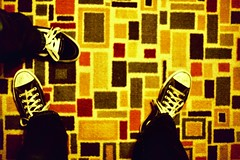 footsies | pop art | retro (johnnyalive) Tags: red film feet yellow carpet foot lomo lca xpro crossprocessed shoes colorful pattern slide pop slidefilm retro popart rug xprocessed footfetish chucktaylor retropattern photographedpatterns