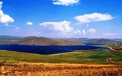 Contrast (Délirante bestiole [la poésie des goupils]) Tags: blue lake color grass hill siberia olkhon baïkal sibérie specnature