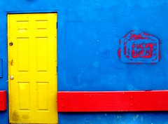 ~ Yellow  Door  Orange  Stripe   .&.   F Bush (See El Photo) Tags: blue 15fav orange yellow 100v graffiti nice bush stencil niceshot great stripe 10f spray 100views 400views 300views 200views spraypaint 500views antibush 200v stencilart bluewall bushsucks wordonthestreet 500v anybodybutbush nobush fuckbush 1f fbush faved yellowdoor 300v 5f 15f 555v5f 333v3f 222v2f 444v4f 111v1f 400v 20f topphotoblog orangestripe seeelphoto bushisbad chrislaskaris