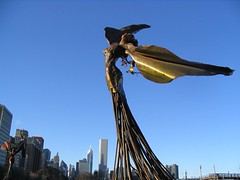 Winged women in Grant Park, I (strass) Tags: blue sculpture woman chicago statue angel grantpark winged dessakirk