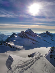 Looking East (serac) Tags: cloud sun mountain snow schweiz switzerland suisse glacier climbing mountaineering bern alp eiger jungfraujoch ch jungfrau mnch oberland alpinism finsteraarhorn photomatix pseudohdr fiescherhorn mnchjoch grnhorn trugberg walcherhorn